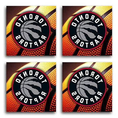 toronto raptors basketball rubber square coaster set