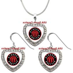 Toronto Raptors 925 Necklace / Earrings or Set Team Heart Wi