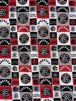Toronto Raptors Fabric 1/4 Yard X44 Inches White Cotton