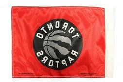 "TORONTO RAPTORS NBA Logo 12"" X 18""  2 Sided CAR STICK FLAG B"