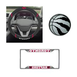 Toronto Raptors Steering Wheel Cover, License Plate Frame, 3